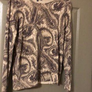 Jones New York , Large, long sleeve brown paisley